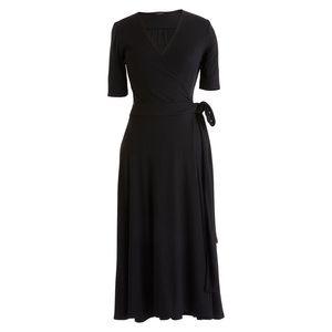 NWOT J.Crew Black Knit Wrap Midi Dress Medium